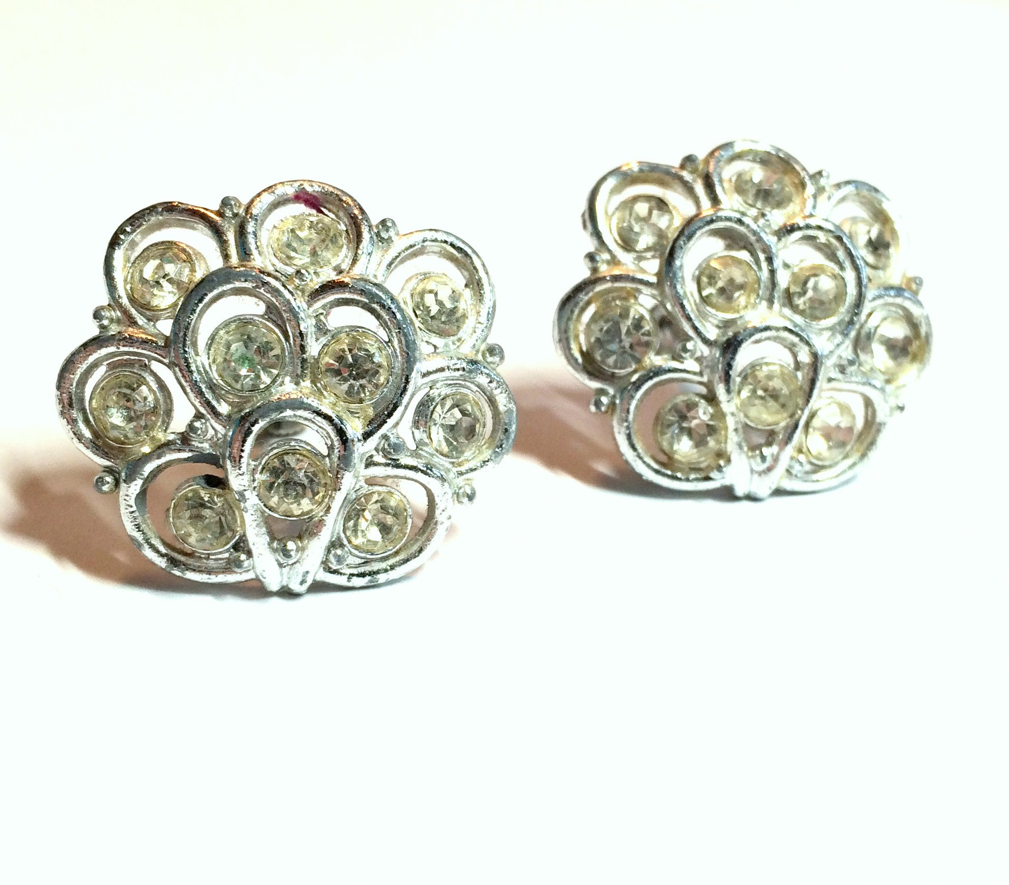 Silvery Scalloped Rhinestone Clip Earrings circa 1960s