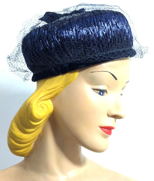 Glossy Raffia Wrapped Blue Veil Topped Hat circa 1960s