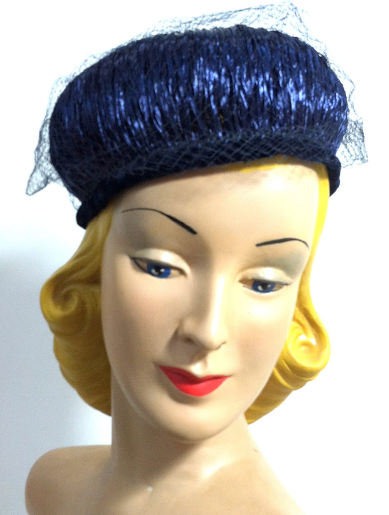 Glossy Raffia Wrapped Blue Veil Topped Hat circa 1960s Dorothea's Closet Vintage Hat