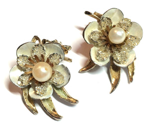 Ivory Metal Enameled Flower Earrings w/ Glitter and Faux Pearls circa 1960s