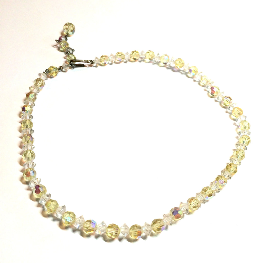 Elegant Pale Yellow and Clear Crystal Necklace circa 1960s