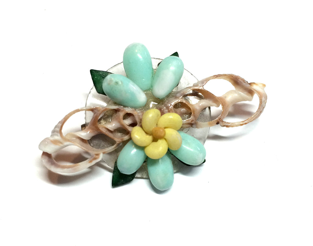 Seafoam Green and Yellow Shell Brooch circa 1940s