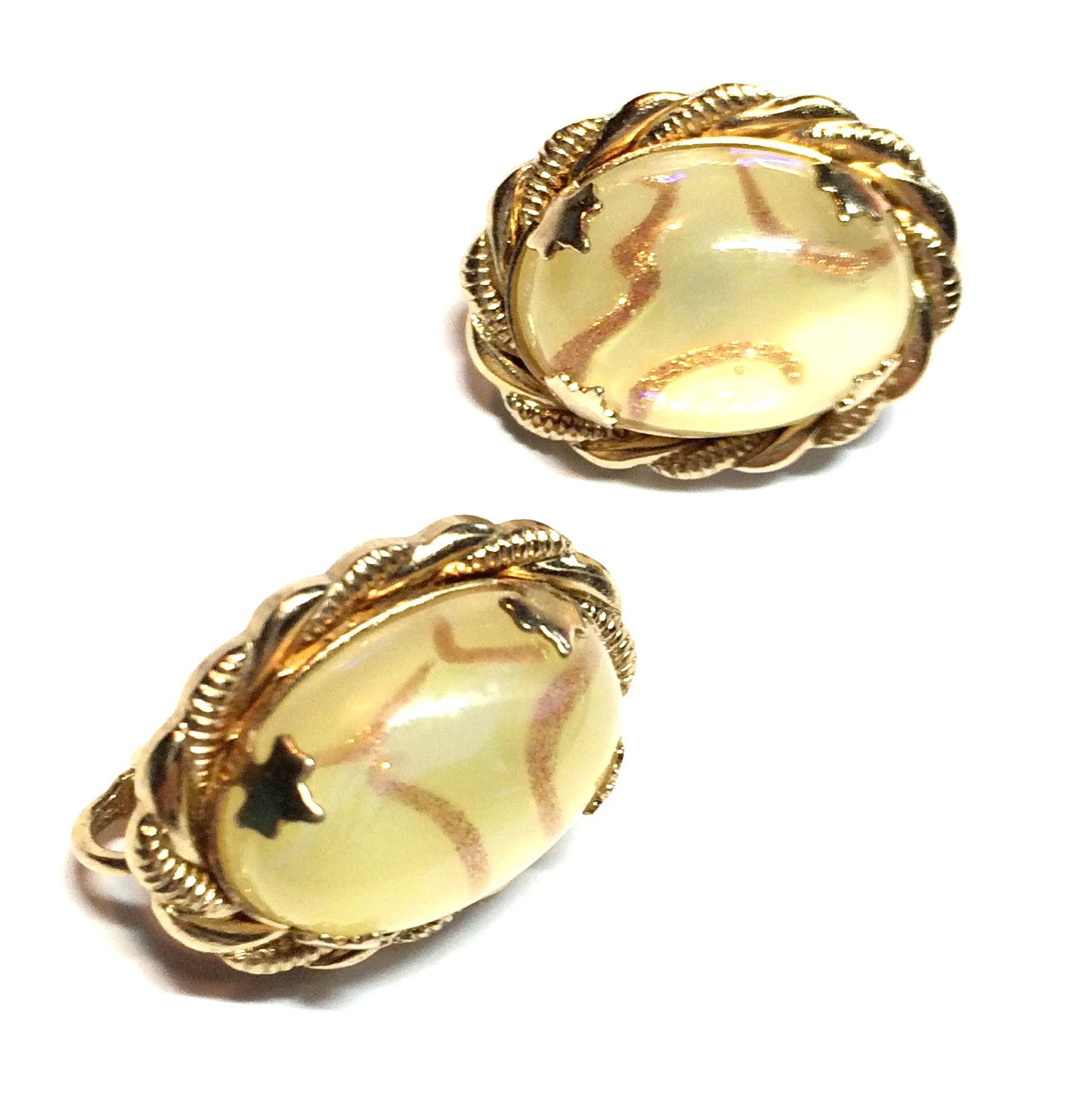 Mellow Yellow Domed Earrings with Gold Glitter and Confetti circa 1960s