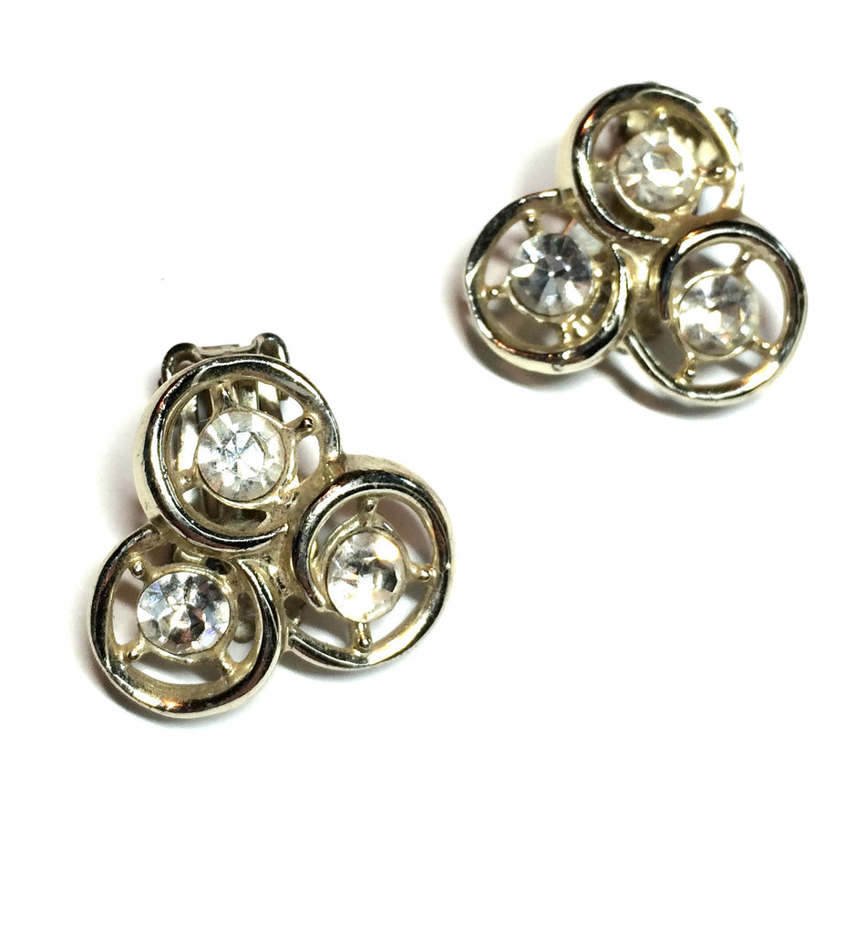 Three Ring Rhinestone Clip Earrings circa 1960s