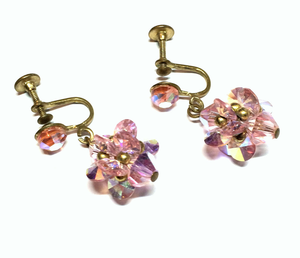 Shimmering Pink Crystal Cluster Dangle Clip Earrings circa 1960s