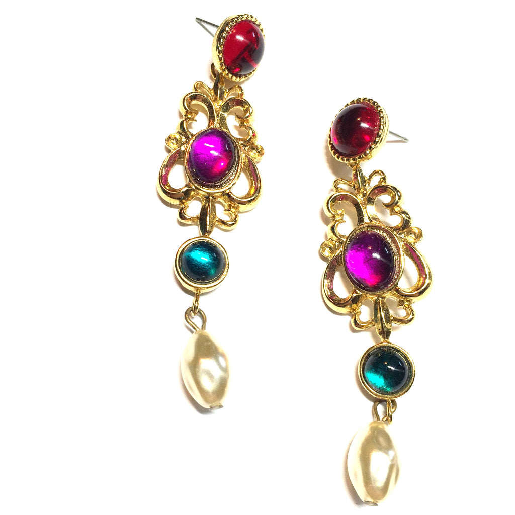 Jewel Tone Colored Cabochon Dotted Long Dangle Earrings circa 1980s