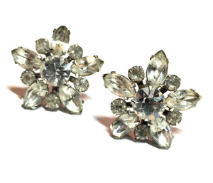 Sparkling Rhinestone Star Clip Earrings circa 1950s