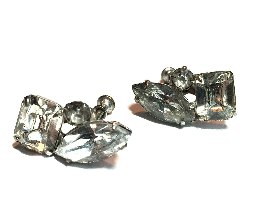 Triple Rhinestone Silver-Toned Metal Clip Earrings circa 1950s