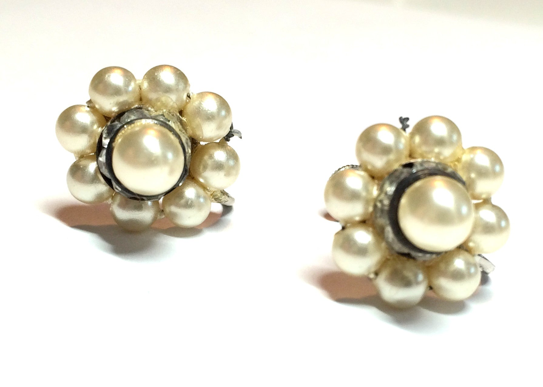 Faux Pearl Flower Shaped Clip Earrings w/ Rhinestones circa 1940