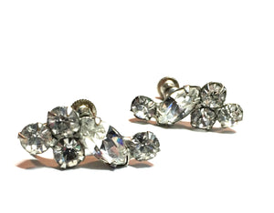 Clear Rhinestone Screwback Clip Earrings circa 1950s Kramer
