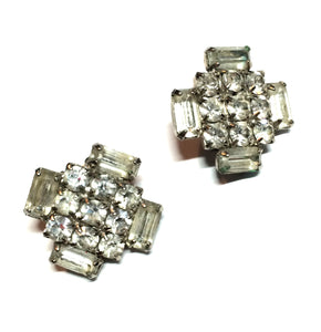 Geometric Glam Clear Rhinestone Clip Earrings circa 1950s