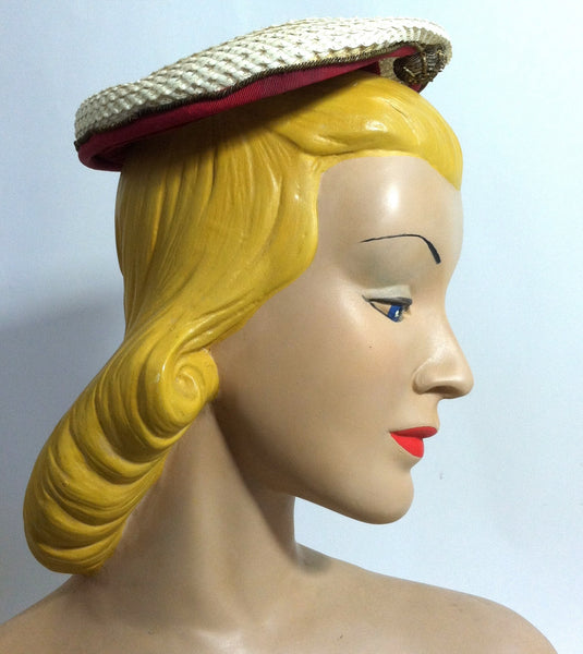 Red Velvet Trimmed White Sisal Cocktail Hat w/ Metallic Detail circa 1950s