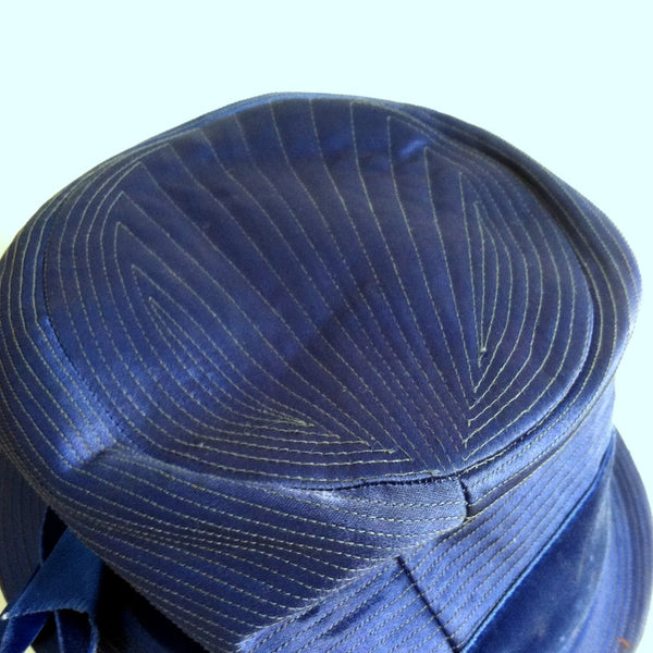 Vivid Blue Deco Seamed Satin Hat w/ Velvet Ribbon circa 1940s