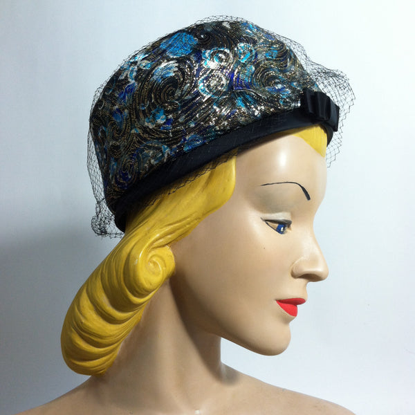 Deep Blue and Metallic Gold Satin Pillbox Hat circa 1960s