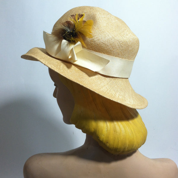 Natural Sisal Downturned Brim Cloche Style Hat w/ Band circa 1960s Dorothea's Closet Vintage Hat