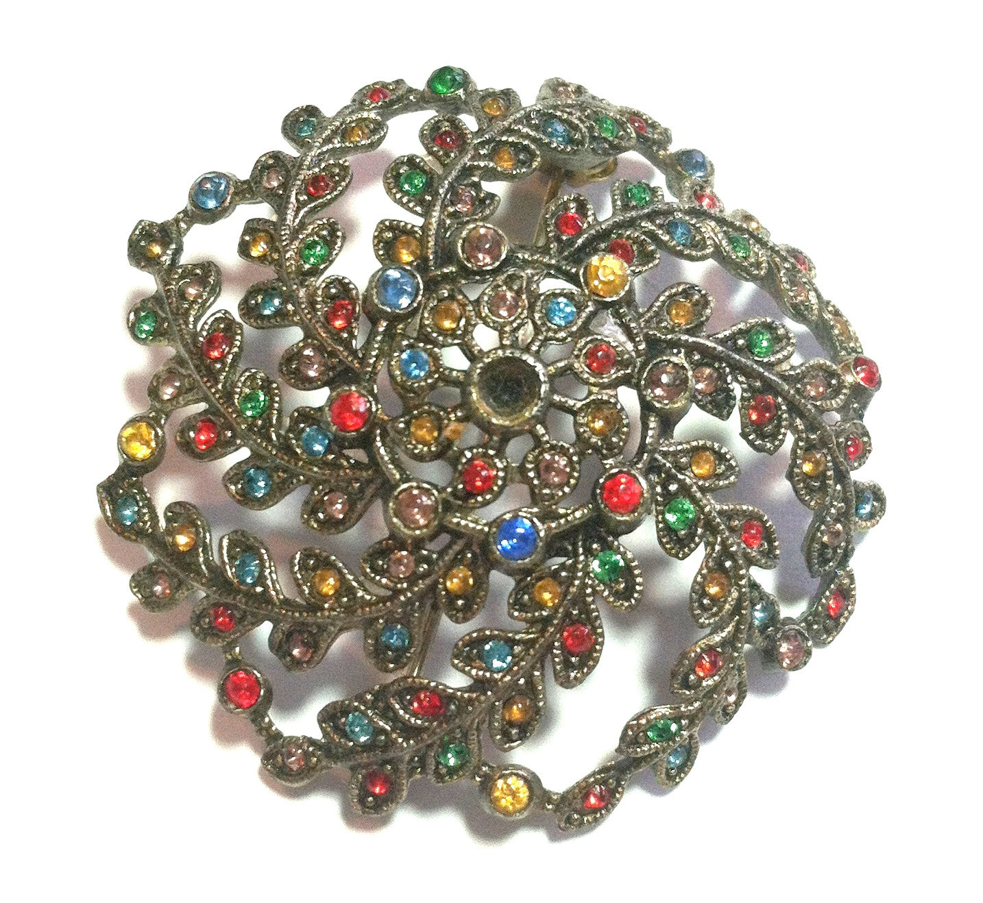 Multicolor Stone Studded Domed 1930s Brooch