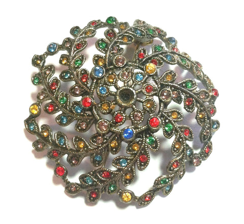 Multicolor Stone Studded Domed Brooch circa 1930s