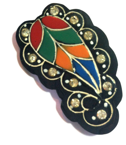 Rainbows and Rhinestones Plume Deco Celluloid Brooch circa 1920s