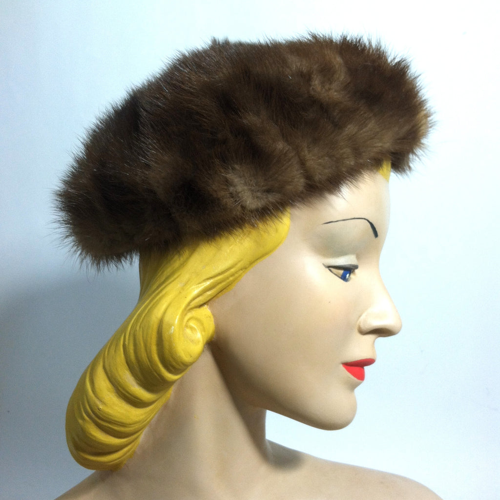 Deep Brown Mink Fur Pillbox Hat circa 1960s