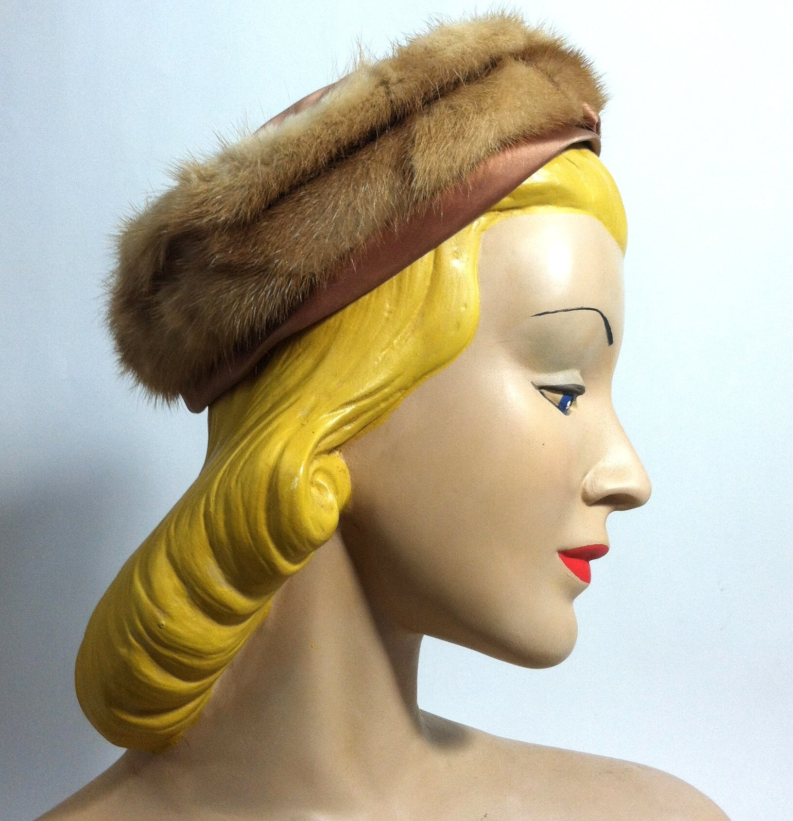 Fawn Mink Satin Trimmed Mini Pillbox Hat w/ Bow circa 1960s