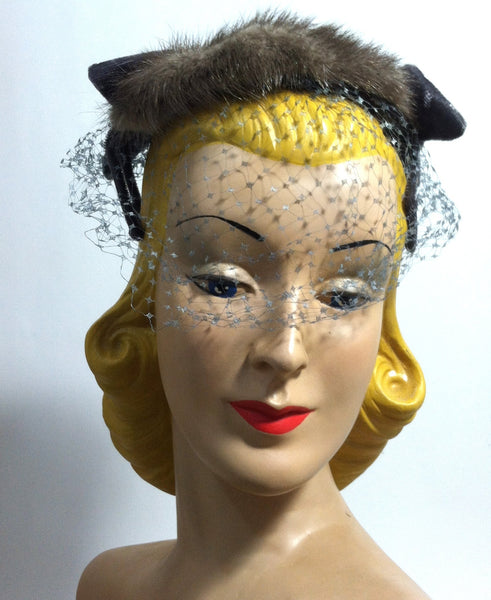 Grey Velvet Bow and Chocolate Mink Cocktail Hat circa 1950s
