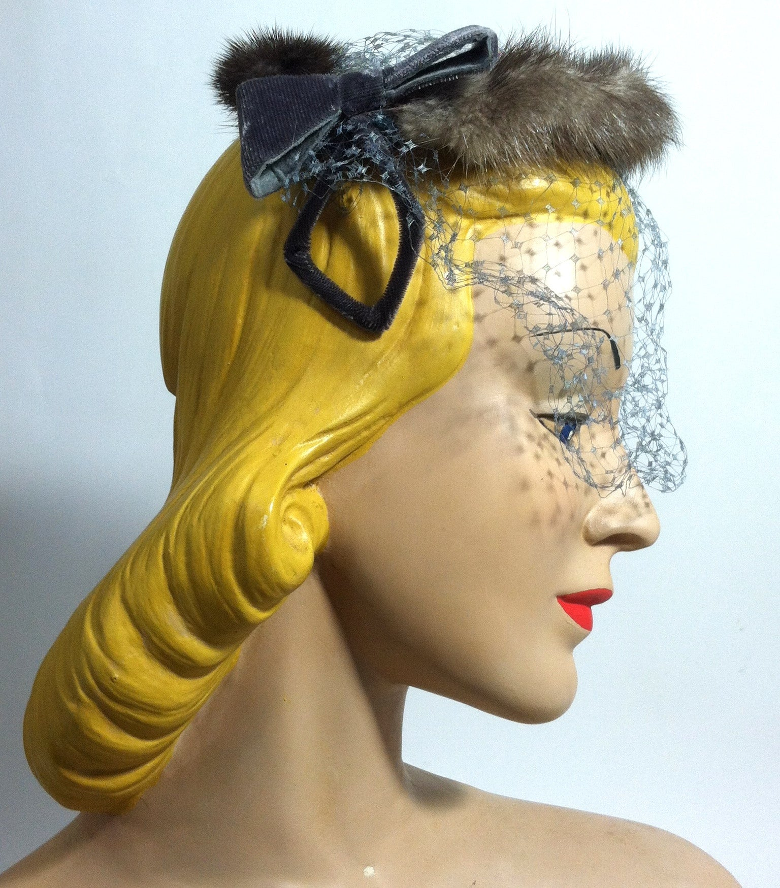 Grey Velvet Bow and Chocolate Mink Cocktail Hat circa 1950s Dorothea's Closet Vintage Hat