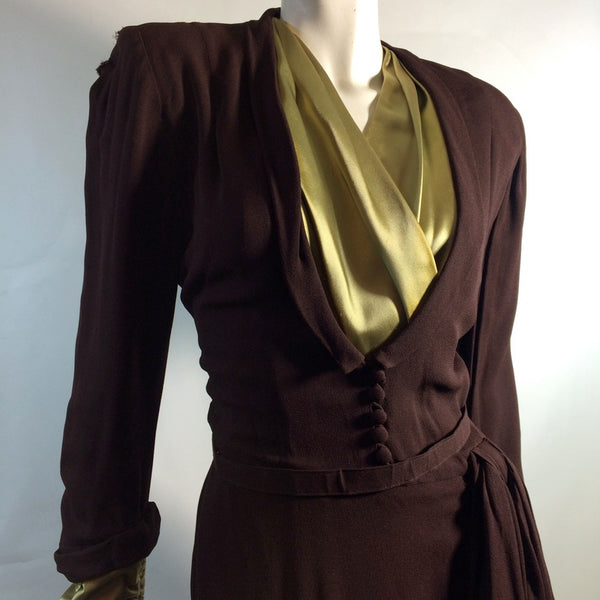 Chartreuse Green Silk Trimmed Cocoa Brown Rayon Dress circa 1940s AS IS