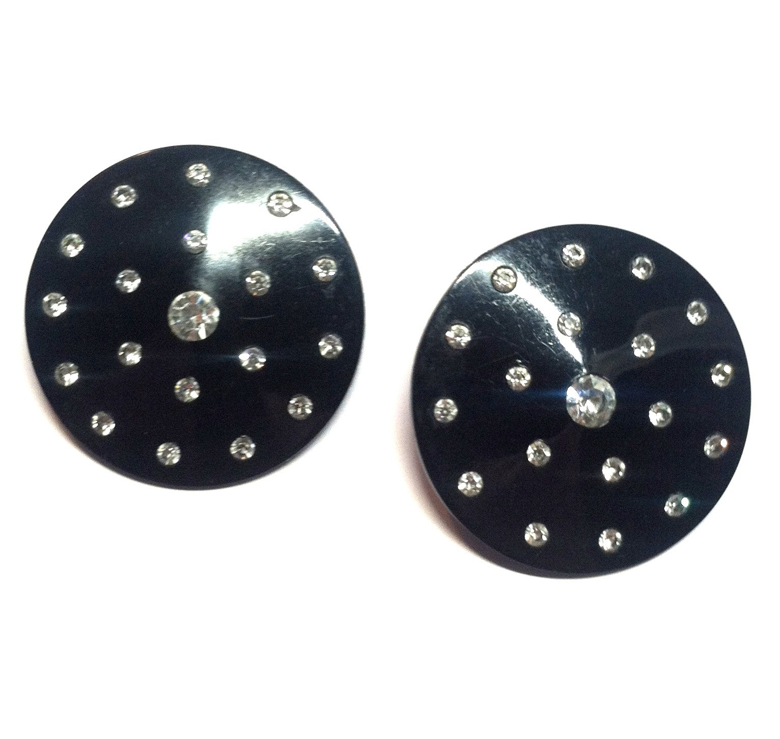 Oversized Black Lucite Concave Disc Clip Earrings w/ Clear Rhinestones circa 1950s
