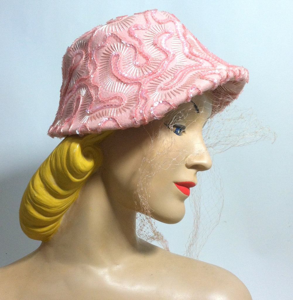 Sparkling Pink Sequined Cocktail Hat w/ Veil circa 1960s