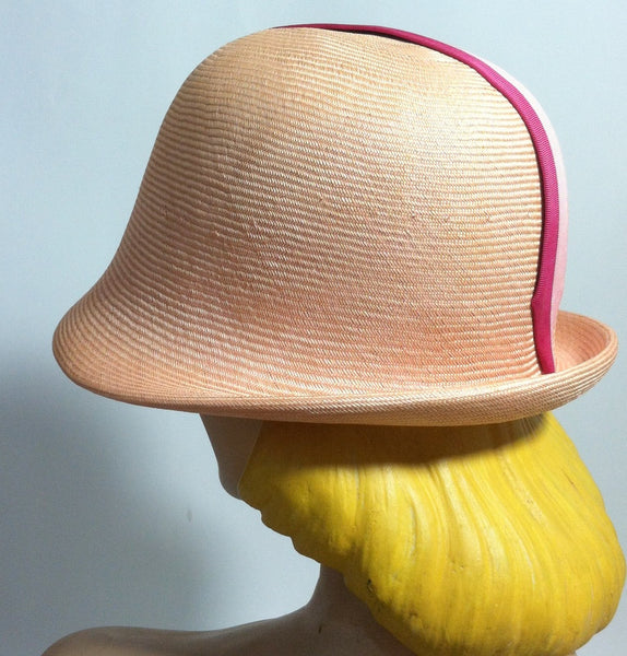 Two Tone Pink Mod Cloche Hat circa 1960s