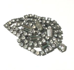 Sparkling Clear Rhinestone Leaf Shaped Statement Brooch circa 1950s
