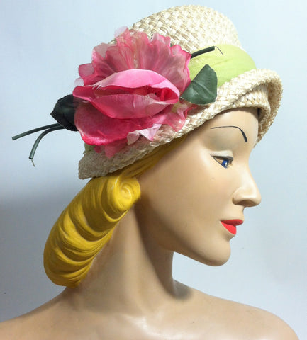 Feminine Natural Colored Cloche Style Hat w/ Side Rose circa 1960s