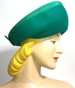Kelly Green Rounded Curved Brim Hat w/ Topstitch Ribbon and Bow circa 1960s Dorothea's Closet Vintage Hat