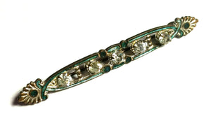 Emerald Green Art Nouveau Enameled Edwardian Rhinestone Pin
