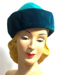 Teal and Turquoise Velvet Sculpted Velvet Hat circa 1960s Dorothea's Closet Vintage Hat