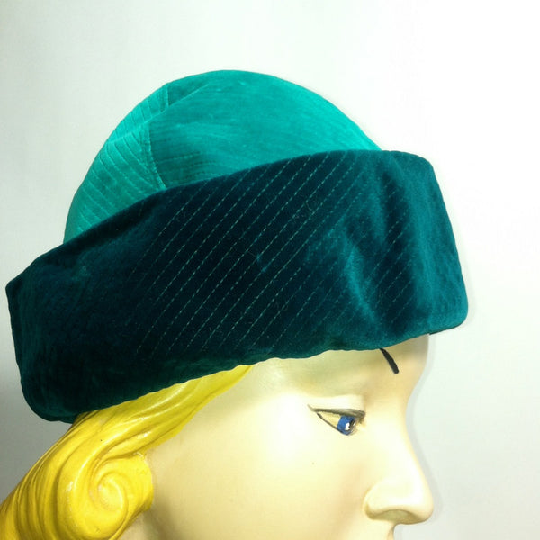 Teal and Turquoise Velvet Sculpted Velvet Hat circa 1960s