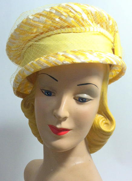 Yellow and White Woven Mod Cello Hat circa 1960s