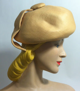 Sculpted Natural Sisal Mod Bubble Hat with Wrapped Petal circa 1960s Dorothea's Closet Vintage Hat