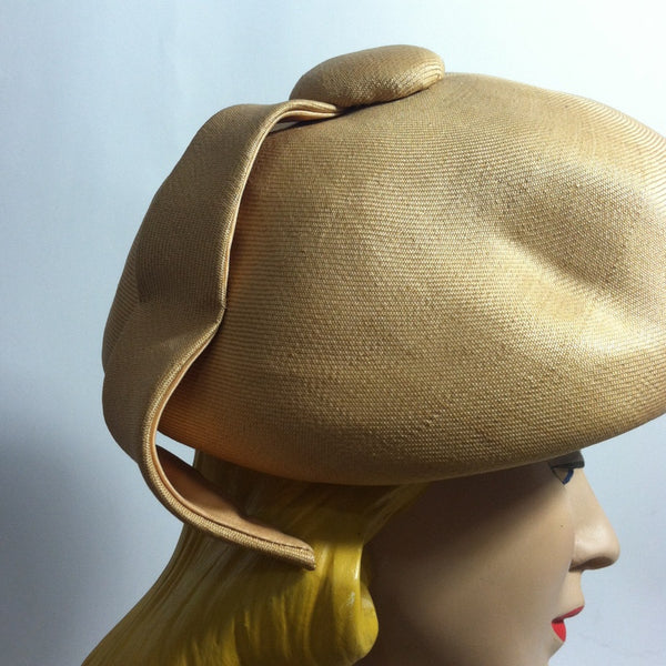 Sculpted Natural Sisal Mod Bubble Hat with Wrapped Petal circa 1960s