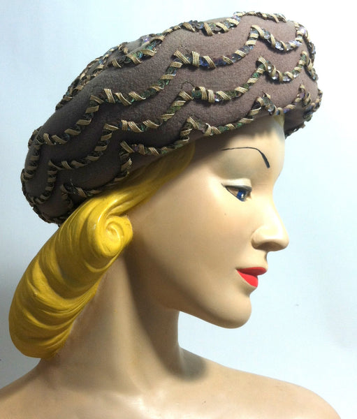 Cafe au Lait Felted Wool Rolled Brim Hat w/ Sequins circa 1960s Dorothea's Closet Vintage Hat