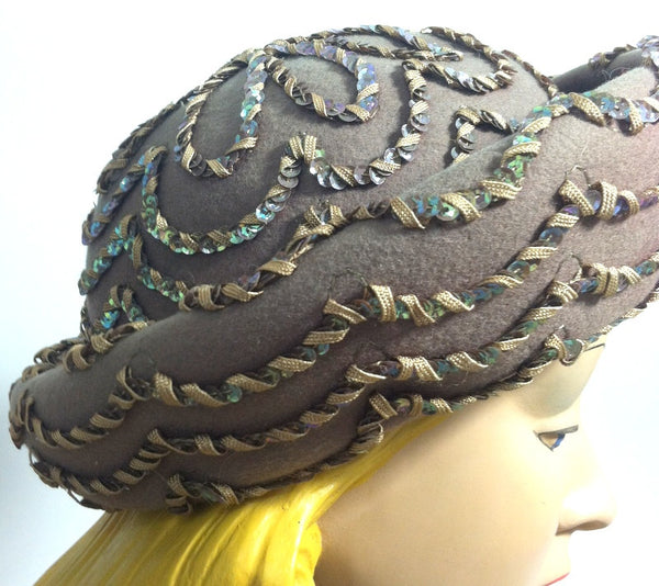 Cafe au Lait Felted Wool Rolled Brim Hat w/ Sequins circa 1960s