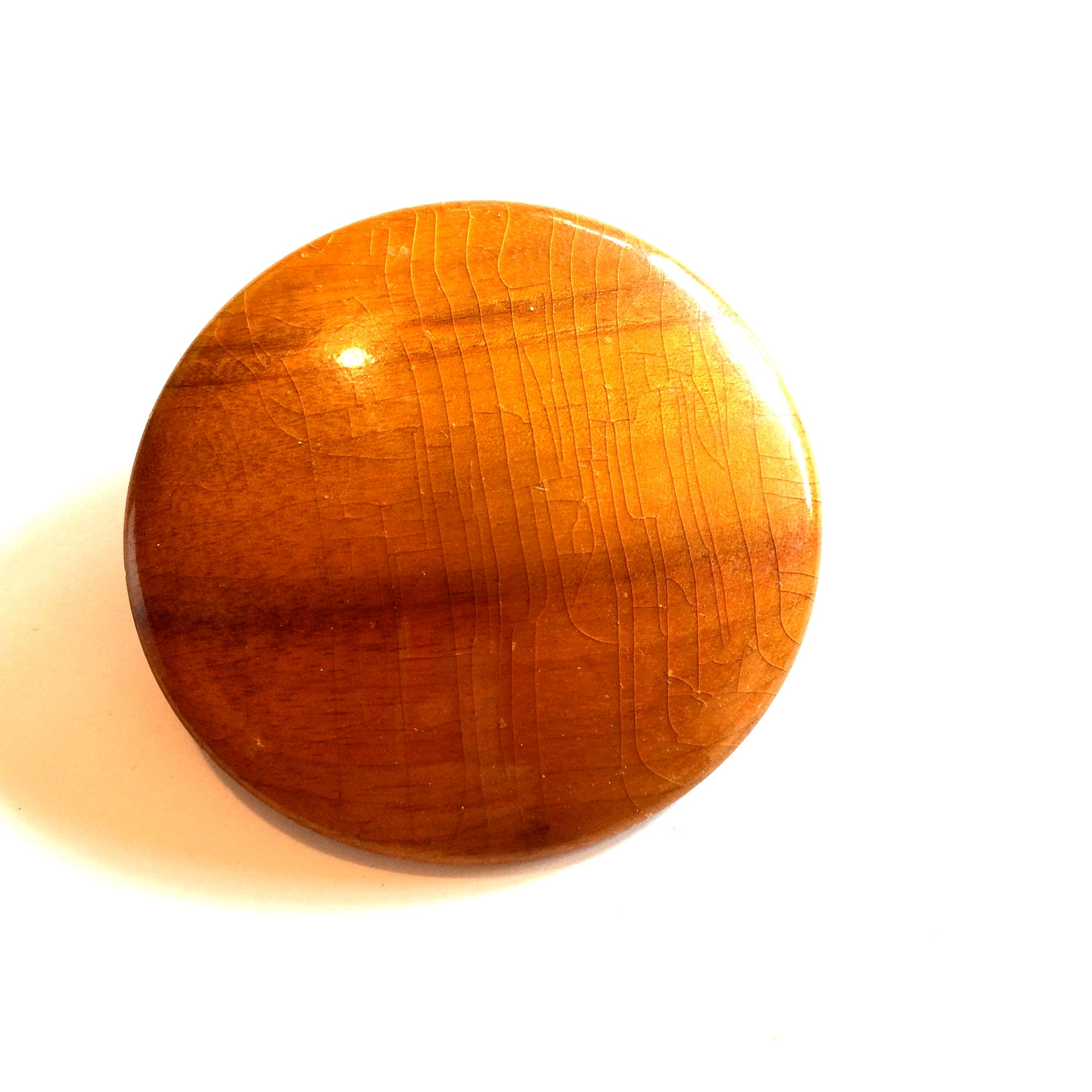 Modern Glossy Domed Wooden Lacquered Brooch circa 1940s
