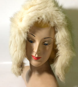Ski Bunny White Fox Fur Hood Hat circa 1950s
