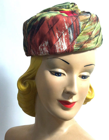 Autumnal Silk Scarf Wrapped Pillbox Hat w/ Stem circa 1960s Hattie Carnegie