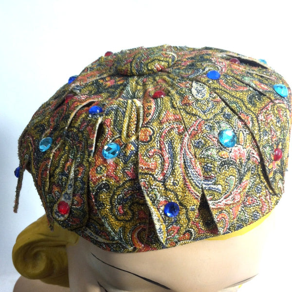 Exotic Paisley Print Gold Metallic Cocktail Hat w/ Cutwork Petals circa 1960s