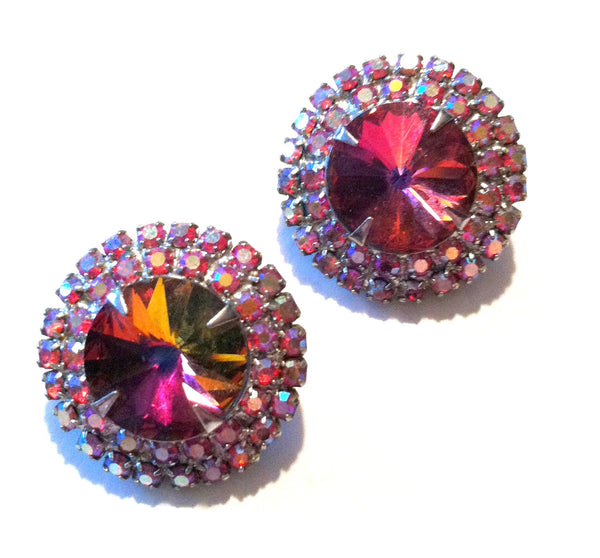 Sparkling Rose Red Rivoli Crystal Clip Earrings circa 1960s