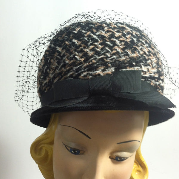 Mod Tweed Black and Grey Bubble Hat circa 1960s