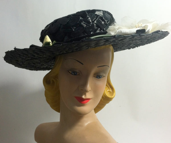 Dramatic Wide Brim Black Cello Hat w/ White Roses circa 1950s