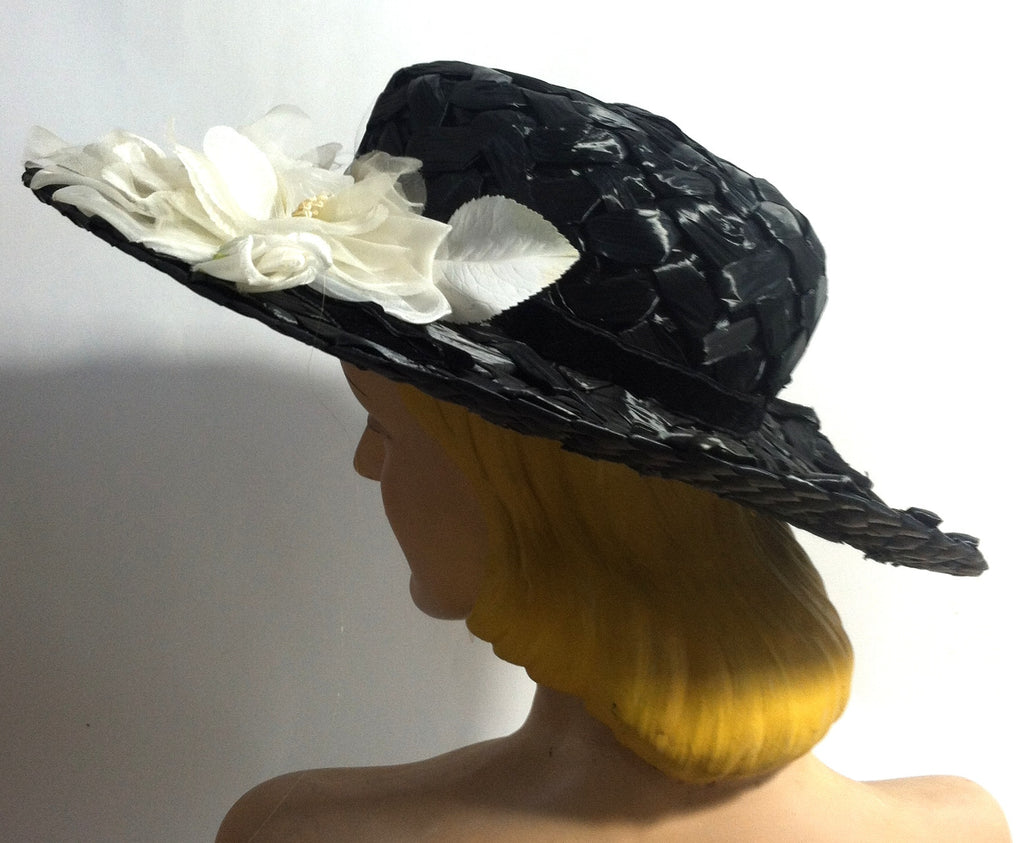 Dramatic Wide Brim Black Cello Hat w/ White Roses circa 1950s Dorothea's Closet Vintage Hat