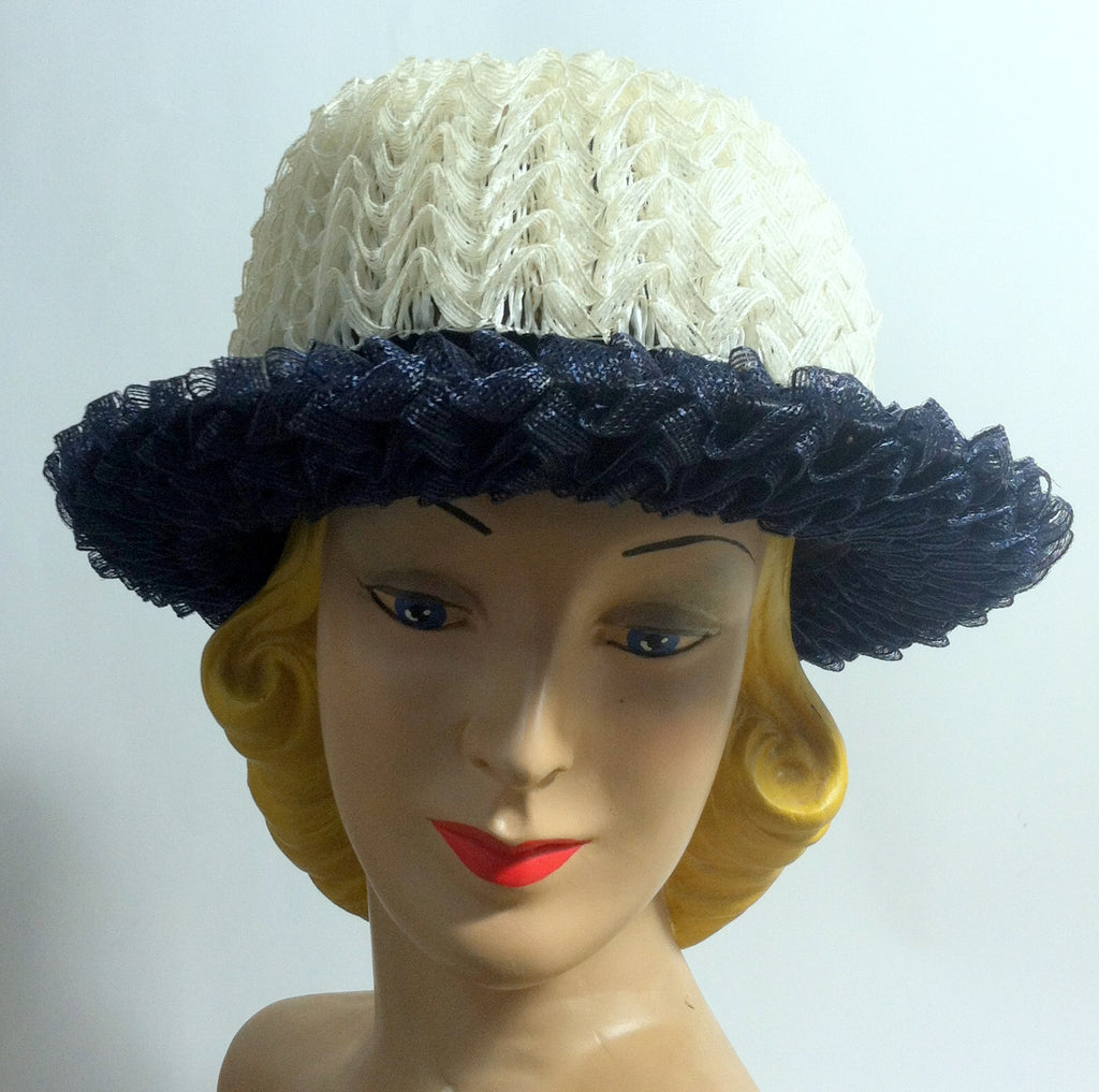 sale $20 Ruffled Cello Mod Blue and White Hat w/ Bow circa 1960s